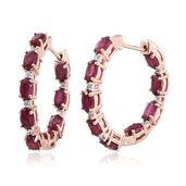 Niassa Ruby, Cambodian Zircon Vermeil RG Over Sterling Silver Earrings TGW 4.92 cts.