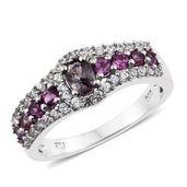 Burmese Lavender Spinel, Purple Garnet, Cambodian Zircon Platinum Over Sterling Silver Ring (Size 6.0) TGW 1.77 cts.