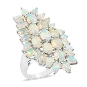 Ethiopian Welo Opal Platinum Over Sterling Silver Elongated Ring (Size 5.0) TGW 5.75 cts.