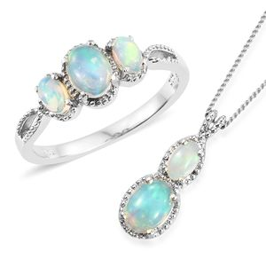 Ethiopian Welo Opal Platinum Over Sterling Silver Ring (Size 7) and Pendant With Chain (20 in) TGW 1.48 cts.