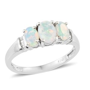 Ethiopian Welo Opal, Diamond Platinum Over Sterling Silver Trilogy Ring (Size 5.0) TDiaWt 0.05 cts, TGW 1.15 cts.