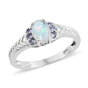 Ethiopian Welo Opal, Tanzanite Platinum Over Sterling Silver Ring (Size 10.0) TGW 0.88 cts.