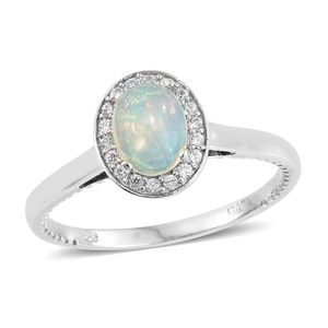 Ethiopian Welo Opal, Cambodian Zircon Platinum Over Sterling Silver Ring (Size 10.0) TGW 1.07 cts.