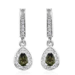 Bohemian Moldavite, Cambodian Zircon Platinum Over Sterling Silver Lever Back Drop Earrings TGW 1.06 cts.