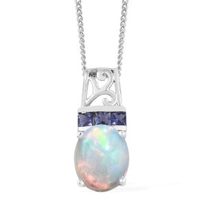 Ethiopian Welo Opal, Catalina Iolite Platinum Over Sterling Silver Pendant With Chain (20 in) TGW 1.77 cts.