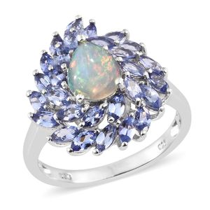 Ethiopian Welo Opal, Tanzanite Platinum Over Sterling Silver Ring (Size 5.0) TGW 3.25 cts.
