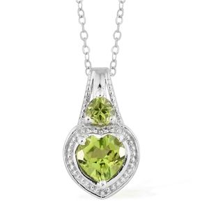 Hebei Peridot Platinum Over Sterling Silver Heart Pendant With Chain (20 in) TGW 1.55 cts.