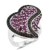 Orissa Rhodolite Garnet, Thai Black Spinel Platinum Over Sterling Silver Heart Ring (Size 7.0) TGW 4.54 cts.