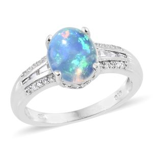 Ethiopian Welo Opal, Cambodian Zircon Platinum Over Sterling Silver Ring (Size 10.0) TGW 2.72 cts.