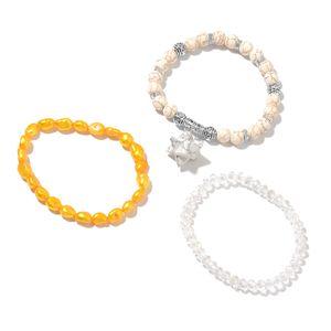 White Howlite, Multi Gemstone Black Oxidized Set of 3 Bracelet with Star Charm (7-7.5In) TGW 162.30 cts.