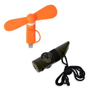 Orange Chroma USB Mobile Fan (iphone Android) and 7 in 1 Green Survival Whistle