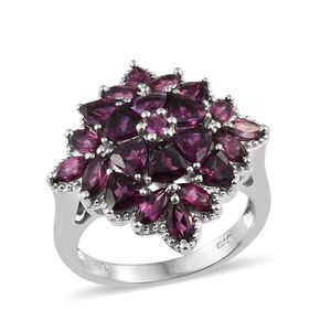 Orissa Rhodolite Garnet Platinum Over Sterling Silver Floral Ring (Size 5.0) TGW 5.10 cts.