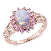 Ethiopian Welo Opal, Multi Gemstone Vermeil RG Over Sterling Silver Ring (Size 6.0) TGW 3.65 cts.