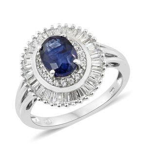 Masoala Sapphire, Cambodian Zircon Platinum Over Sterling Silver Ring (Size 6.0) TGW 4.20 cts.