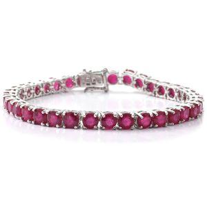 Niassa Ruby Sterling Silver Tennis Bracelet (8.00 In) TGW 25.46 cts.