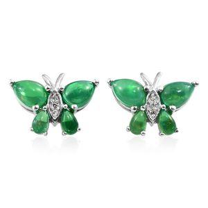 Green Ethiopian Welo Opal, Cambodian Zircon Platinum Over Sterling Silver Butterfly Stud Earrings TGW 2.54 cts.