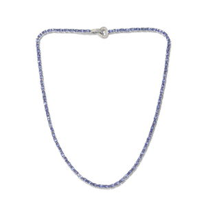 Tanzanite, Cambodian Zircon Platinum Over Sterling Silver Necklace (18 in) Total Gem Stone Weight 21.54 Carat
