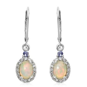 One Time only Ethiopian Welo Opal, Multi Gemstone Platinum Over Sterling Silver Lever Back Earrings TGW 1.47 cts.