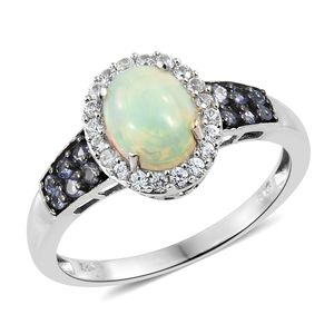 Ethiopian Welo Opal, Multi Gemstone Platinum Over Sterling Silver Ring (Size 10.0) TGW 1.71 cts.