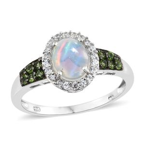 Ethiopian Welo Opal, Multi Gemstone Platinum Over Sterling Silver Ring (Size 5.0) TGW 1.71 cts.