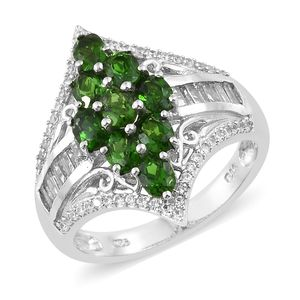 Russian Diopside, Multi Gemstone Platinum Over Sterling Silver Ring (Size 7.0) TGW 3.56 cts.