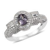 Burmese Lavender Spinel, White Topaz, Cambodian Zircon Platinum Over Sterling Silver Ring (Size 5.0) TGW 1.94 cts.