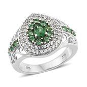 Emeraldine Apatite, Cambodian Zircon Platinum Over Sterling Silver Ring (Size 7.0) TGW 1.90 cts.