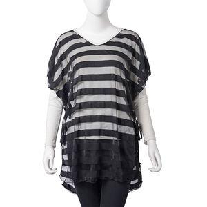 Black 100% Polyester Sheer Stripe Summer Blouse (One Size)