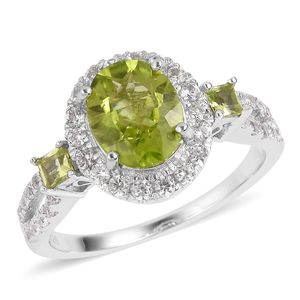 Hebei Peridot, White Zircon Sterling Silver Ring (Size 7.0) TGW 4.29 cts.