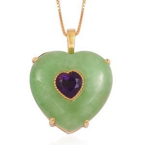Burmese Green Jade, Amethyst 14K YG Over Sterling Silver Heart Pendant With Chain (18 in) TGW 19.75 cts.