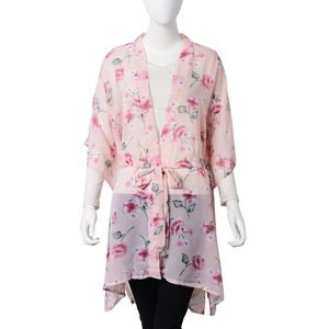 White and Pink Flower Pattern 100% Polyester Summer Kimono with Waist Band (43.31x33.46 in)
