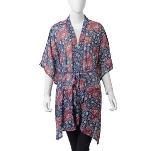Navy and Red Flower Pattern 100% Polyester Summer Kimono with Waist Band (43.31x33.46 in)