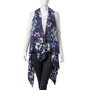 Navi with Multi Color Floral Printed 100% Polyester Spring Kimono (57.08x51.19 in)
