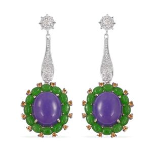 Burmese Purple and Green Jade, Multi Gemstone Sterling Silver Earrings TGW 28.08 cts.