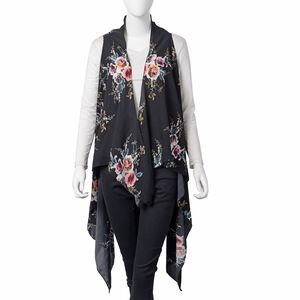 Black with Pink & Blue Floral Printed 100% Polyester Spring Kimono (57.08x51.19 in)
