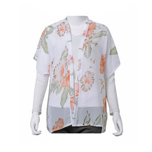 White with Light Orange Floral Printed 100% Polyester Spring Kimono (26.78x25.59 in)