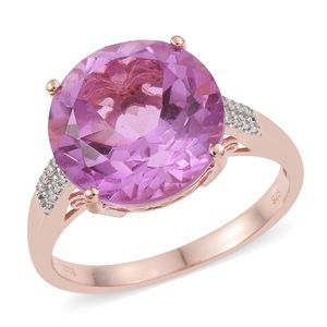 African Lilac Quartz, Cambodian Zircon Vermeil RG Over Sterling Silver Ring (Size 8.0) TGW 7.97 cts.