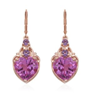 African Lilac Quartz, Rose De France Amethyst Vermeil RG Over Sterling Silver Lever Back Earrings TGW 7.86 cts.
