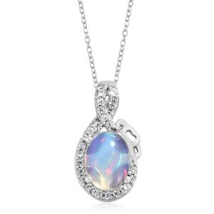 Ethiopian Welo Opal, Cambodian Zircon Platinum Over Sterling Silver Pendant With Chain (20 in) TGW 0.89 cts.