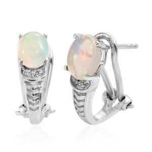 Ethiopian Welo Opal, Cambodian Zircon Platinum Over Sterling Silver Omega Clip Earrings TGW 1.70 cts.