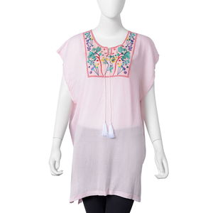 Pink 100% Viscose Floral Embroidered Blouse with Tassels (One Size)