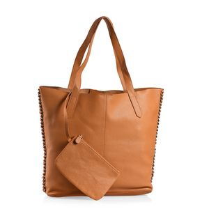 July 4th DOORBUSTER Cognac 100% Genuine Leather Tote Bag with Snap Closure (14.5x4x13 in) and RFID Detachable Pouch (7x4.5 in)