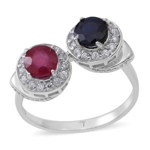Niassa Ruby, Madagascar Blue Sapphire, Cambodian Zircon Sterling Silver Ring (Size 8.0) TGW 3.50 cts.