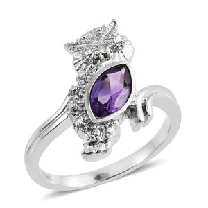 Bolivian Amethyst Stainless Steel Ring (Size 7.0) TGW 1.00 cts.