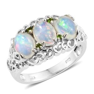 Ethiopian Welo Opal, Russian Diopside Platinum Over Sterling Silver Openwork Ring (Size 7.0) TGW 2.42 cts.