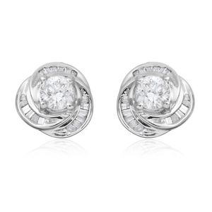 10K WG Diamond (H I1) Stud Earrings TDiaWt 1.00 cts, TGW 1.00 cts.