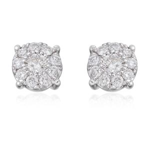 14K WG Diamond (H I1) Stud Earrings TDiaWt 0.88 cts, TGW 0.88 cts.