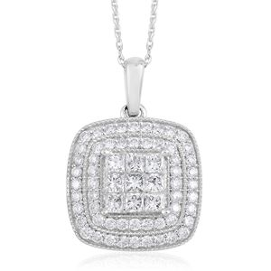 10K WG Diamond (G I1) Pendant With Chain (18 in) TDiaWt 1.00 cts, TGW 1.00 cts.