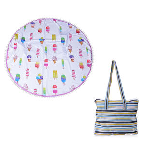 2 in 1 Ice Cream Pattern 20% Cotton and 80% Viscose Multi Purpose Towel (82x29 in) and Striped Tote