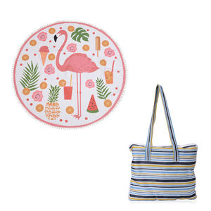 2 in 1 Flamingo Pattern 20% Cotton and 80% Viscose Multi Purpose Towel (82x29 in) and Striped Tote